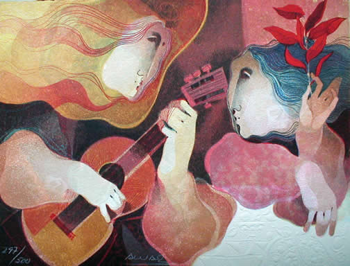 Figure with Guitar and Muse