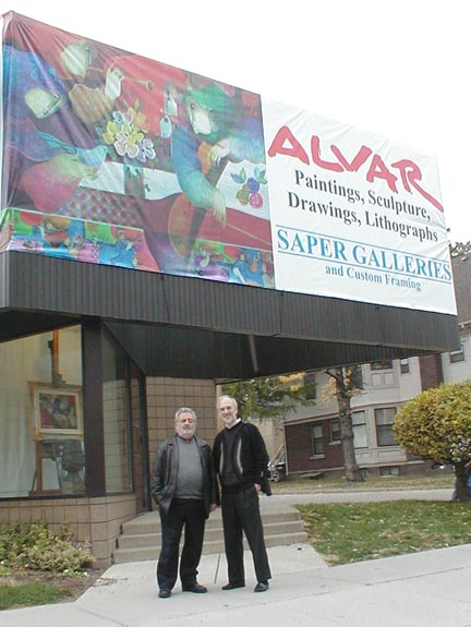 Alvar and Roy Saper in front                     of Saper Galleries
