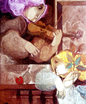 Violin and Fruit
