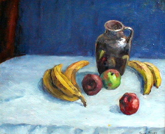 Still Life with                   Pitcher, Apples and Bananas