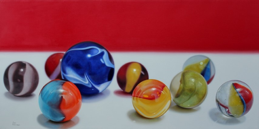 Marbles and red