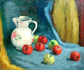Decorated Pitcher with Green and Red Apples