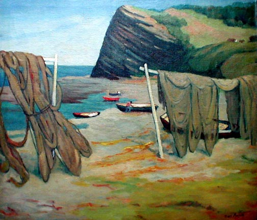 Gaspe Fishing Nets and Boat on Shore