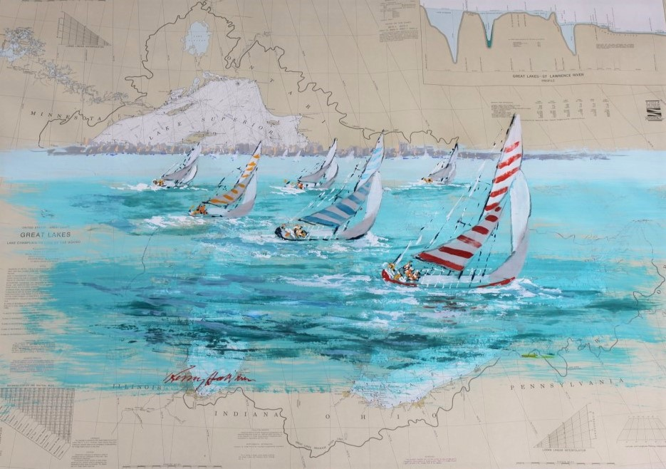 Great Lakes 2 painting on             nautical chart