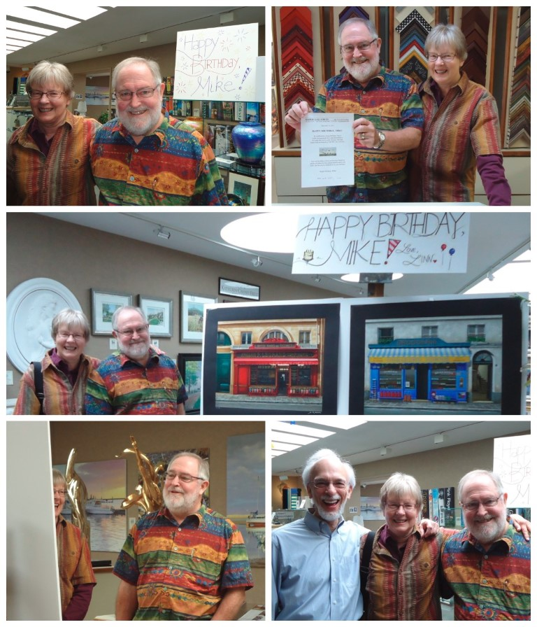 Mike receiving                       birthday surprise at Saper Galleries