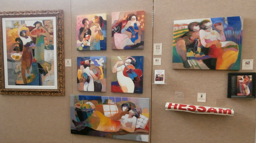 A selection of Hessam               Abrishami canvases on display now