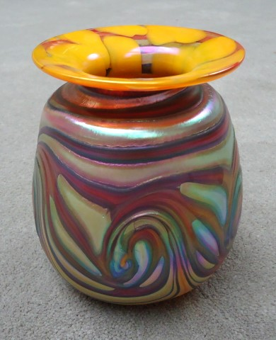 Multicolored swirl with orange rim