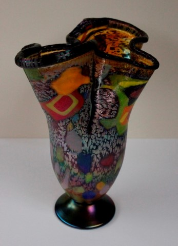 Dark Rim Colorful Fluted Extra Large Vase