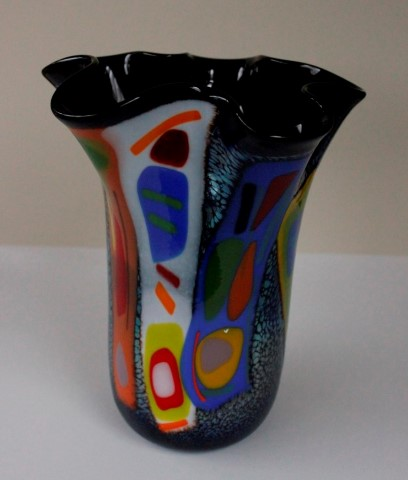 Large                       fluted fused vase