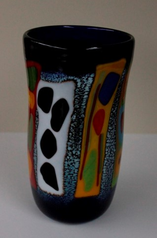Large                       fused cobalt vase