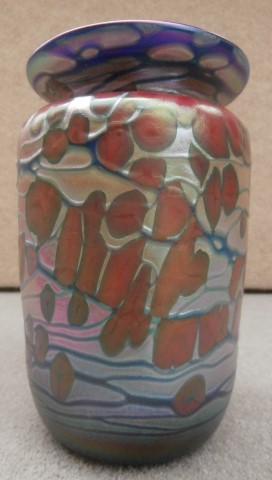 Purple rim red feathered blue small vase