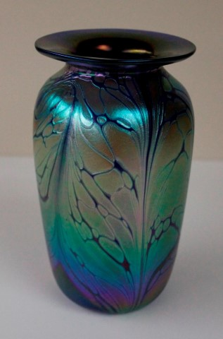 Small iridescent vase