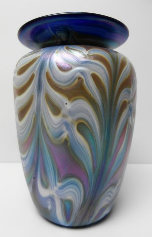 Blue rim feathered white and blue vase