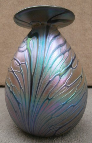 Irridescent butterfly wings mini vase with                       gold rim