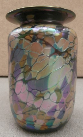 White leaves and purple rim small vase
