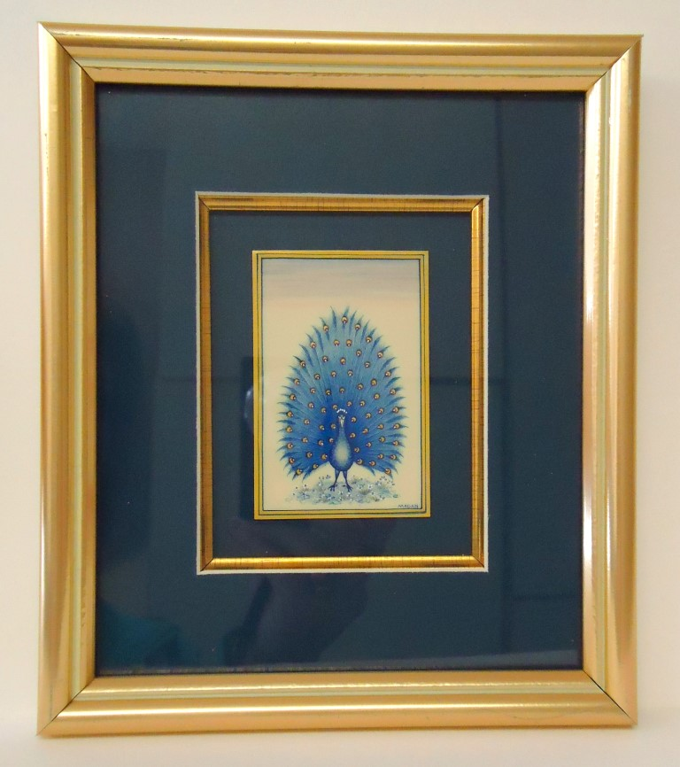 Framed blue                     peacock