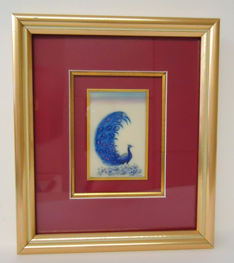 Blue                     peacock side view framed