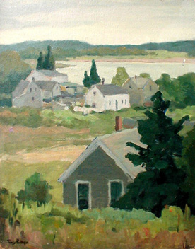 Landscape with Houses Boothbay Harbor