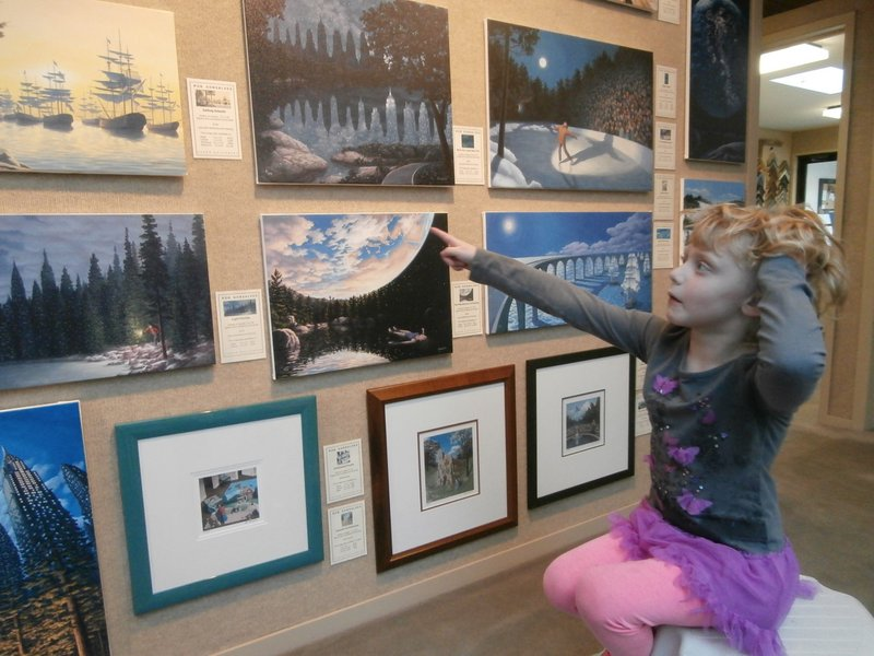Morgan                                   enjoying the Rob Gonsalves artwork