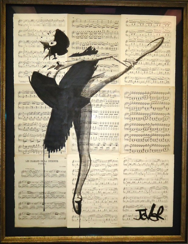 Drawing on music                           sheets shadow box framed