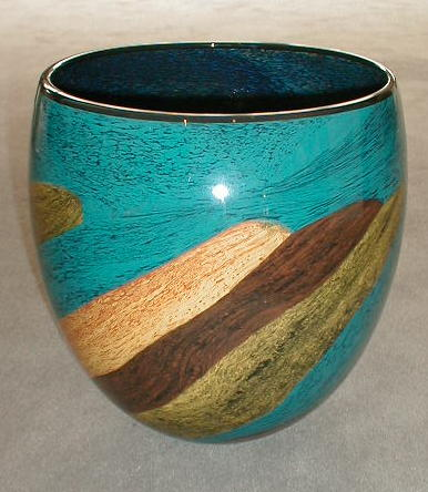 Blue with Brown Oval Vase
