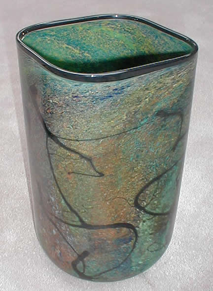 Forest Green Square Vase 12""