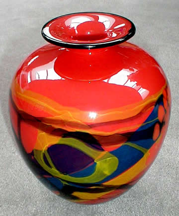 Red Vessel with Lip 8""