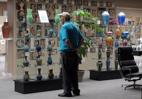 Viewing the                       Hebron glass collection