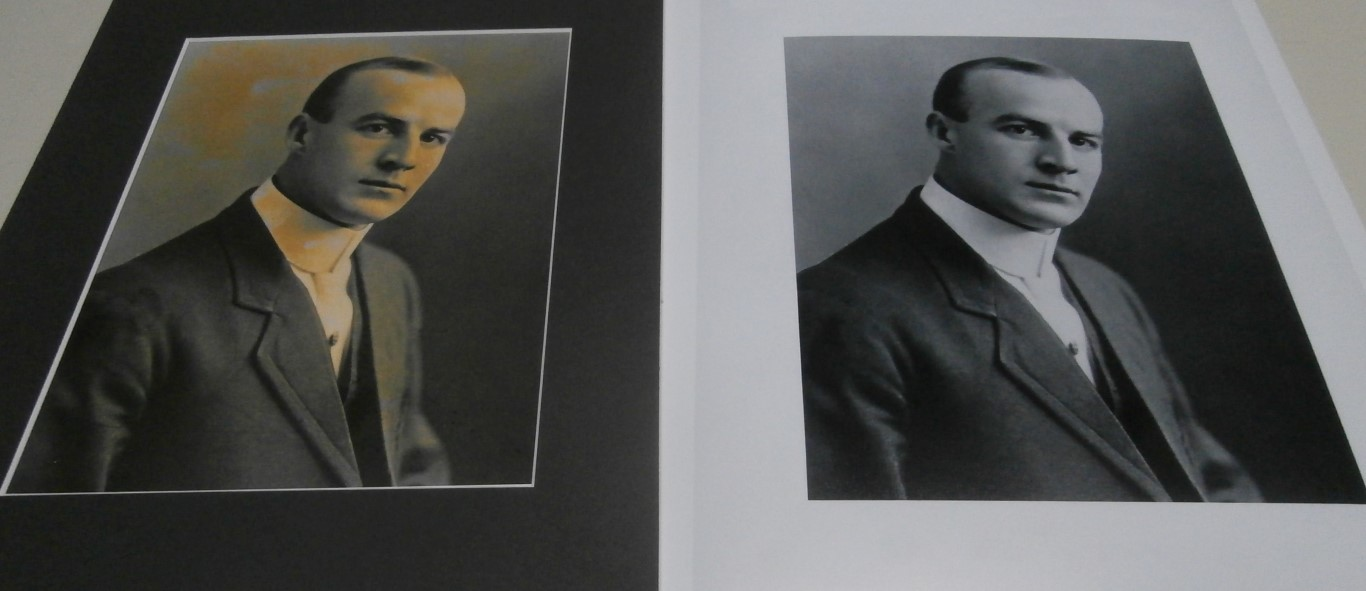 Restoration of damaged photograph before and after