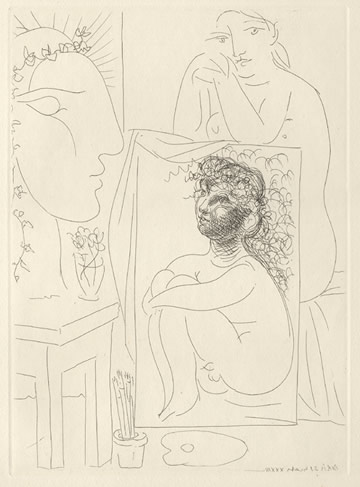 Modèle, tableau et sculpture, 21.3.1933 (Seated model with painting and sculpted head)