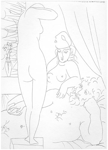 Le repos du Sculpteur et le Modèle au Masque, 27.3.1933 (Resting sculptor and model with the mask)