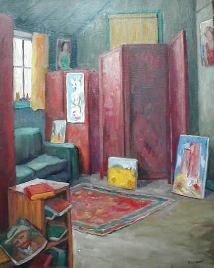 PonsenInteriorRoomWithRedScreenAndPaintings30x24 7800. Interior With  Folding Screens And Paintings