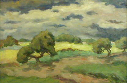 Landscape With Trees And Cloudy Sky