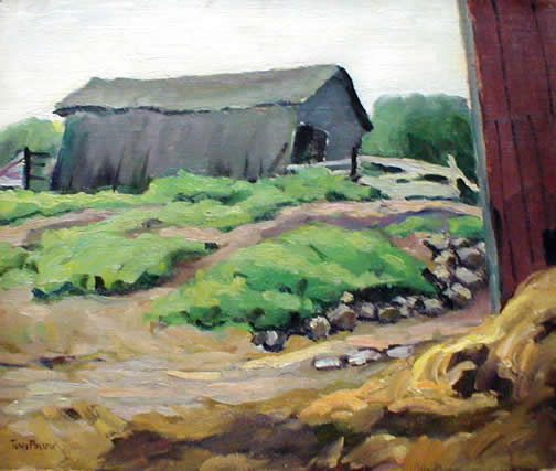PonsenLeaningGrayBarnAndPathToRedBarn20x24-3200canvas.jpg