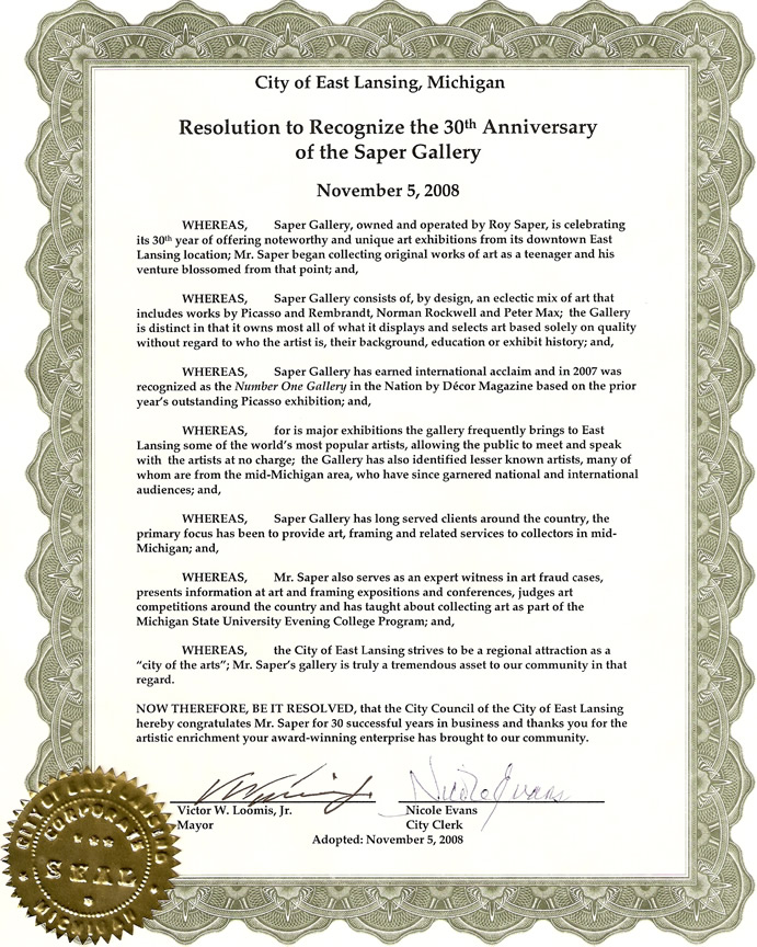 Resolution from City of East Lansing