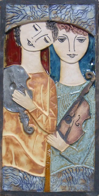 Two Figures With Instruments