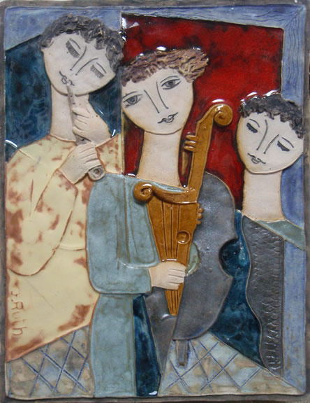 Three Figures With Instruments