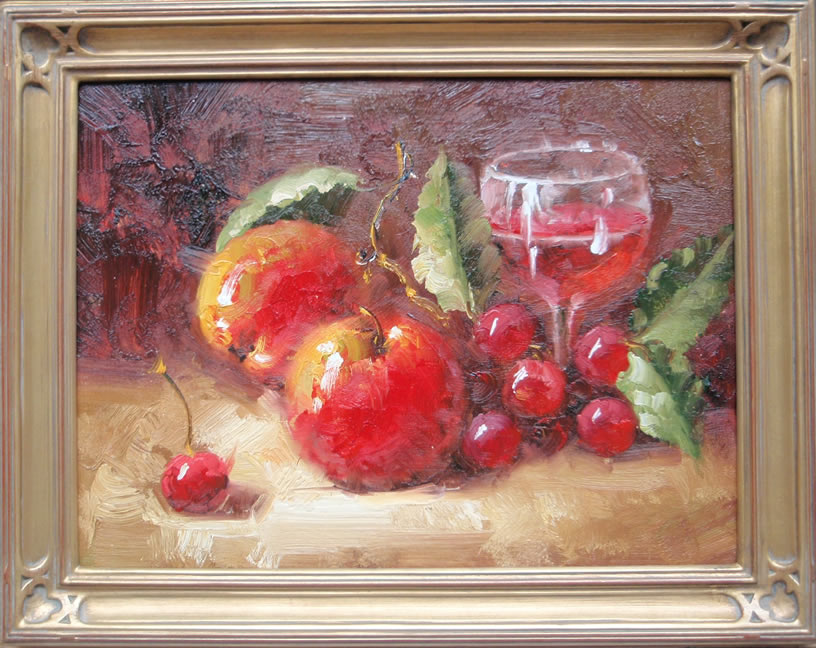 Apples                         and Cherries still life