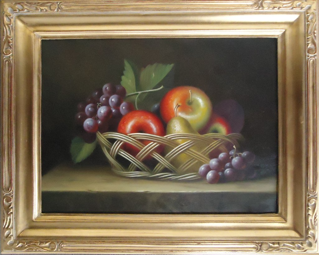 Basket of Apples, Pears, and Grapes